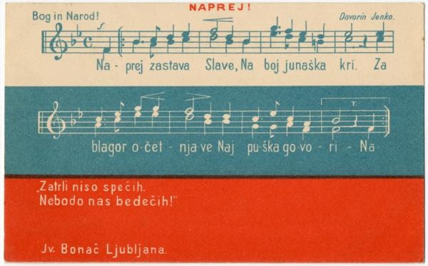 Dopisnica s slovensko narodno zastavo in himno.