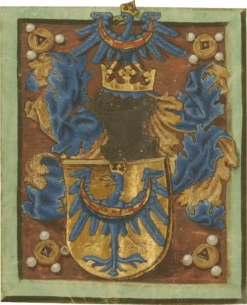 Grb Kranjske iz leta 1463 z zlatim ščitom. Grb je upodobljen na listini, s katero je cesar Friderik III. v zahvalo, ker so mu kranjski plemiči priskočili na pomoč v obleganem Dunaju, izboljšal deželni grb. Arhiv RS - SI AS 1063, Zbirka listin, št. 716 (1463, januar 12., Dunajsko Novo mesto).