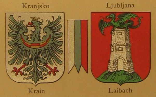 Grba Kranjske in Ljubljane ter deželne barve Kranjske.